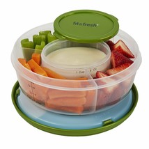 Food Compartment Tray Holder Appetizer Fruits Vegetables w/ Dip Containe... - $25.05