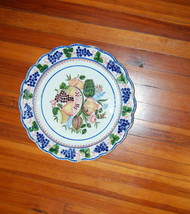 Italian Large Faience Pottery Charger Le Nove Grapes Fruit Stick Spatter - $1,250.00