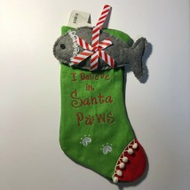 Pet Cat Christmas Stocking Green 3D Fish Gray Fish14in I Believe in Sant... - $9.12