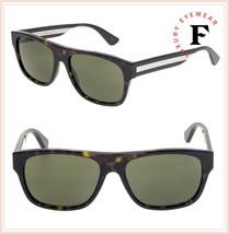Gucci Sensual Romantic 0341 Havana Green Stripe Square Unisex Sunglasses GG0341S - $267.30