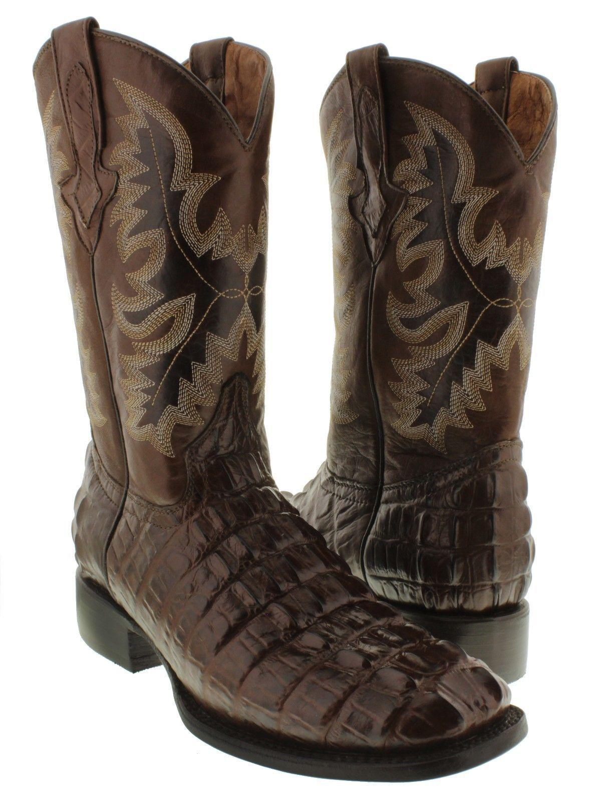 f7bb61c50287 S l1600. S l1600. Mens Dark Brown Crocodile Alligator Tail Leather Design  Square Toe Cowboy Boots