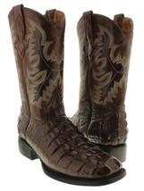 Mens Dark Brown Crocodile Alligator Tail Leather Design Square Toe Cowbo... - £109.39 GBP