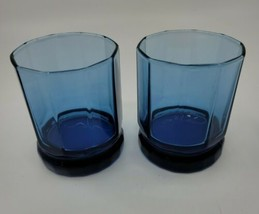 Anchor Hocking Cobalt 10 Panel Double Old Fashioned Glasses Set of 2 Blu... - $13.99