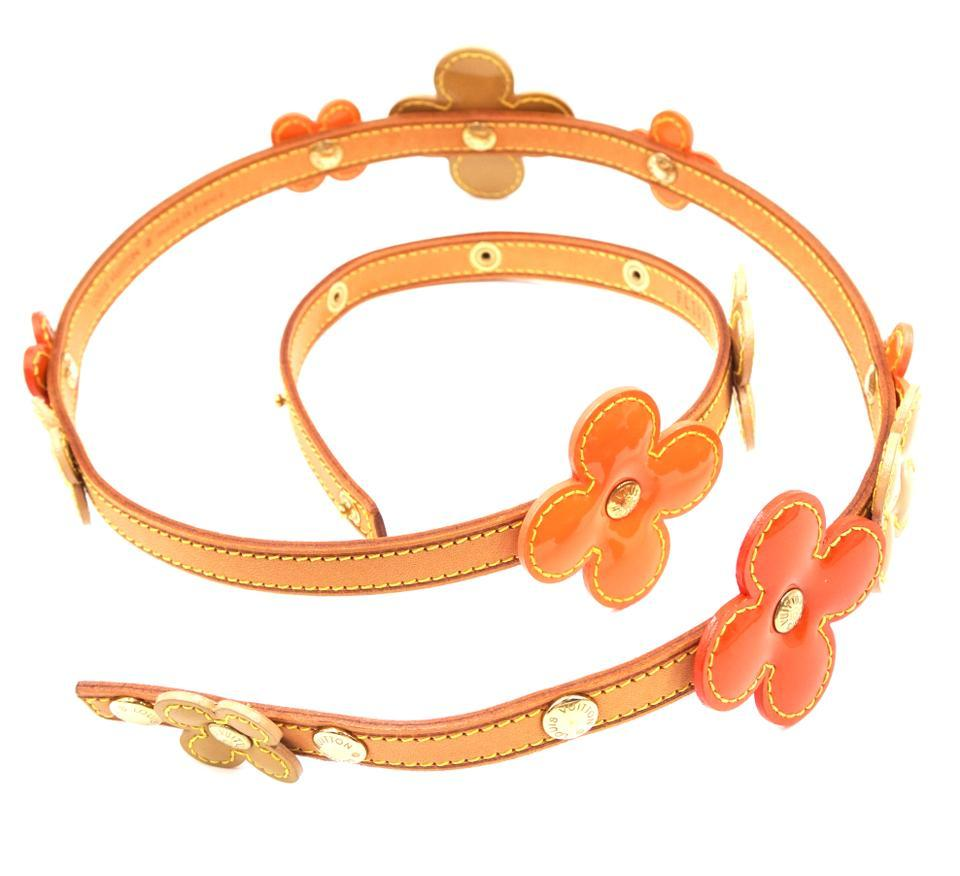 #32252 Louis Vuitton Monogram Lv Vernis Flowers Classic Vachetta Leather Belt - $300.00