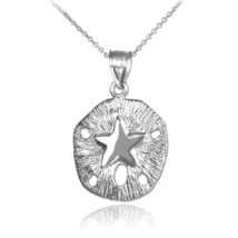 Sterling Silver Textured Sand Dollar Pendant Necklace - €18,02 EUR+