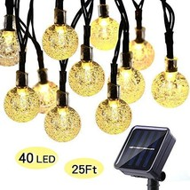 ECOWHO Solar String Lights Outdoor, 25ft 40 LED Waterproof Globe Solar P... - $18.82