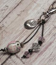 Owl Pink Ceramic Crystal Beaded Handmade Purse Planner Charm Keychain Clip  - $12.21