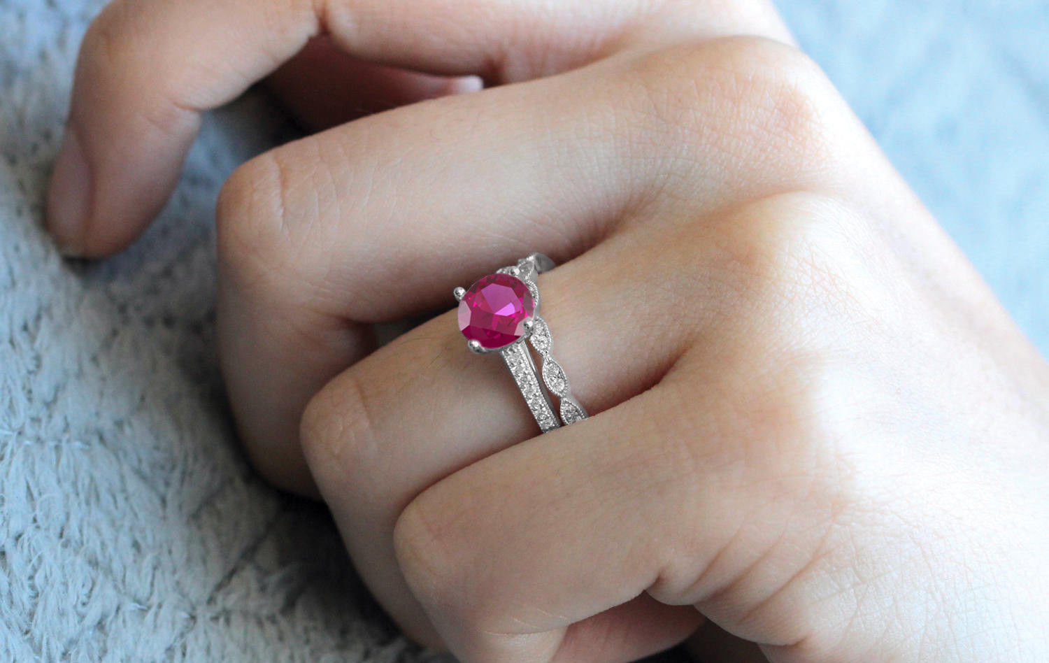 Round Cut Pink Sapphire Bridal Wedding Ring Set 14k White Gold Plated 925 Silver