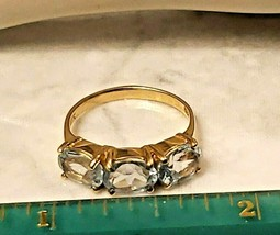 Ladies Ring 14K Yellow Gold with TRIO Light Blue Topaz Size 6 - $185.25