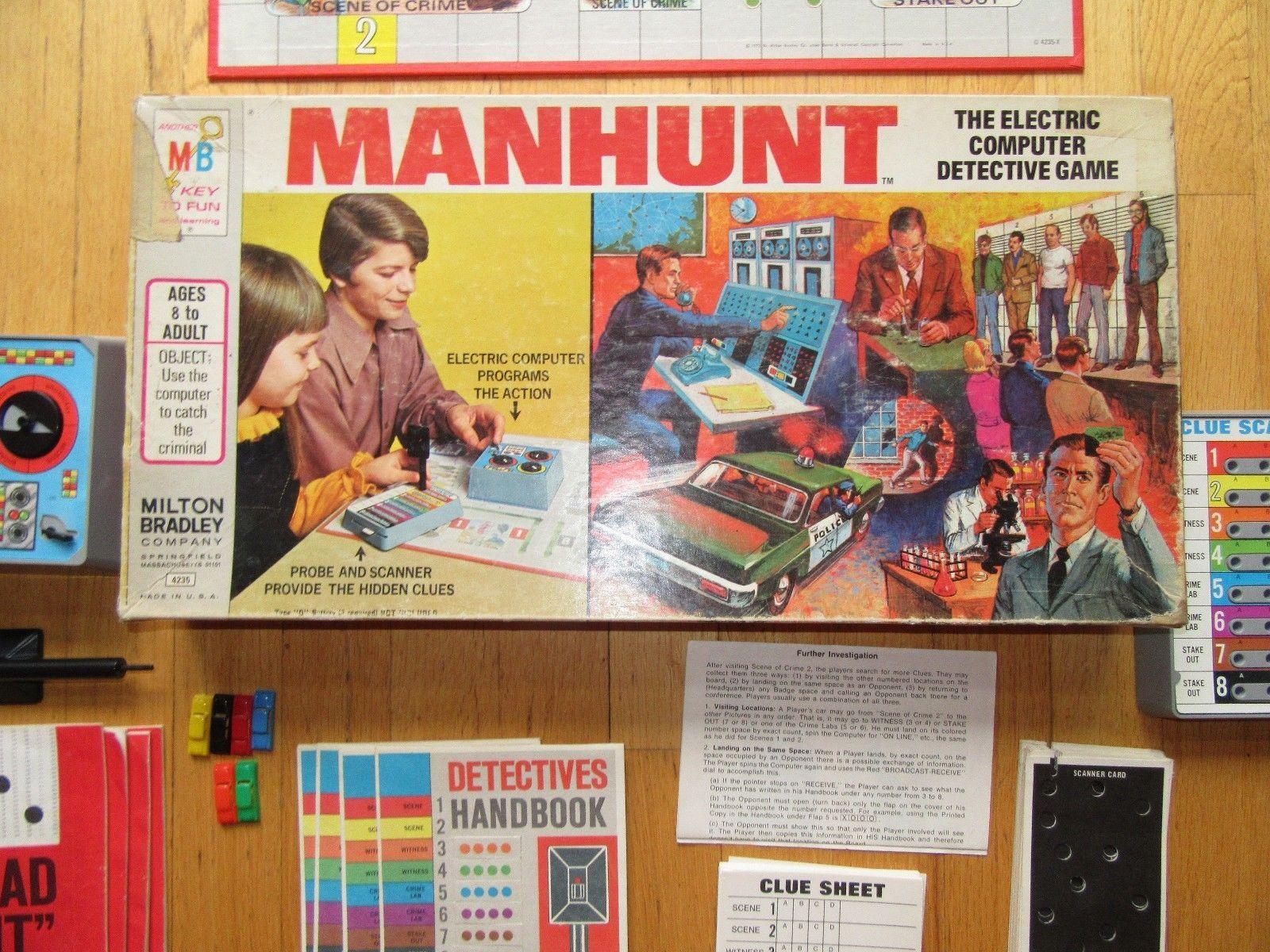 6T/VINTAGE 1972 MILTON BRADLEY MANHUNT ELECTRONIC COMPUTER DETECTIVE BOARD GAME!