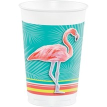 Island Oasis 8 ct Plastic 16 oz Cups Summer Luau Pool Party Flamingos - £4.03 GBP