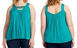 Jessica Simpson Women's Plus Size Strappy-Front Tank Top 30002396, Blue ... - $29.75