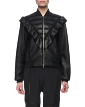 V-Front Quilted Stylish Women's Genuine Soft Lambskin Leather biker Jacket - $149.00