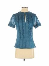 Club Monaco Women's Teal Silk Ruffled Dressy Shirt Top Blouse Size Small - $31.49