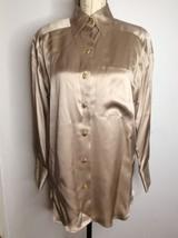 Vintage Starington Blouse Charlotte 100% Silk Top Shirt Beige Cream Tan ... - $27.87