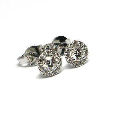 White Gold Earrings 750 18k, Central & Frame of Diamonds, 0.47 CT, Flower