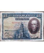 KINGDOM SPAIN BANKNOTE - 25 PESETAS - YEAR 1928 - PEDRO CALDERÓN DE LA B... - $10.00
