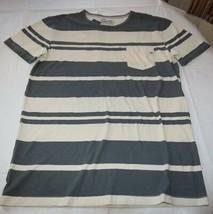 Men's Quiksilver Pocket T Shirt surf skate Lokea KZM6 stripe off white c... - £15.52 GBP