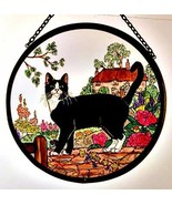Decorative Hand Painted Stained Glass Window Sun Catcher/Roundel in a Cottage Ga - $43.42