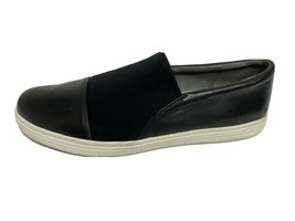 Via Spiga women's slip on loafers black low heel leather fabric size US 10 - $31.02