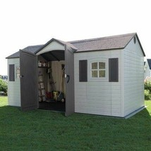 Large Storage Shed 15x8 Ft Garden Tool Organizer Storage Plastic Yard Bu... - $2,429.45
