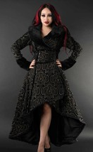 Charcoal Grey Evil Queen Brocade Goth Victorian Long Corset Back Steampu... - $169.83