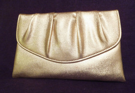 "Vintage Gold Lamme pleated Clutch, 1950's 6"" tall, 9"" wide,flap over. - $19.00"