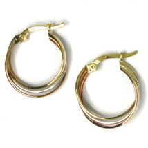 Earrings Circle White Gold, Pink, Yellow 750 18k, Twisted Squares, 1.5 Cm image 3