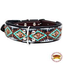 Hilason Heavy Duty Genuine Leather Dog Collar Padded Brown Aztec U-C106 - $23.79
