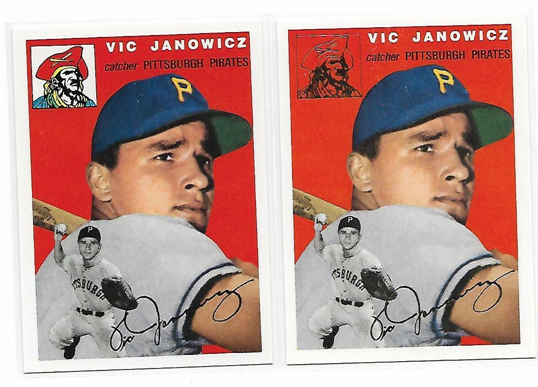 1954 Topps Archives Pittsburgh Pirates Vic Janowicz #9 Gold & Regular 2Cards