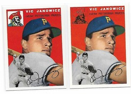 1954 Topps Archives Pittsburgh Pirates Vic Janowicz #9 Gold & Regular 2Cards image 1