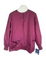Adar Universal Scrubs for Women - Round Neck Warm-Up Scrub, Burgundy, Size Med - £11.53 GBP