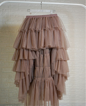 High Low Tulle Skirt Long Layered Tutu Skirt Outfit Plus Size  Brown Tulle Skirt image 5