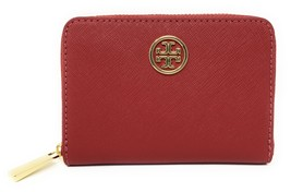 Tory Burch Robinson Saffiano Leather Zip Coin Case  Kir Royale Red - NWT - $135 - $74.95