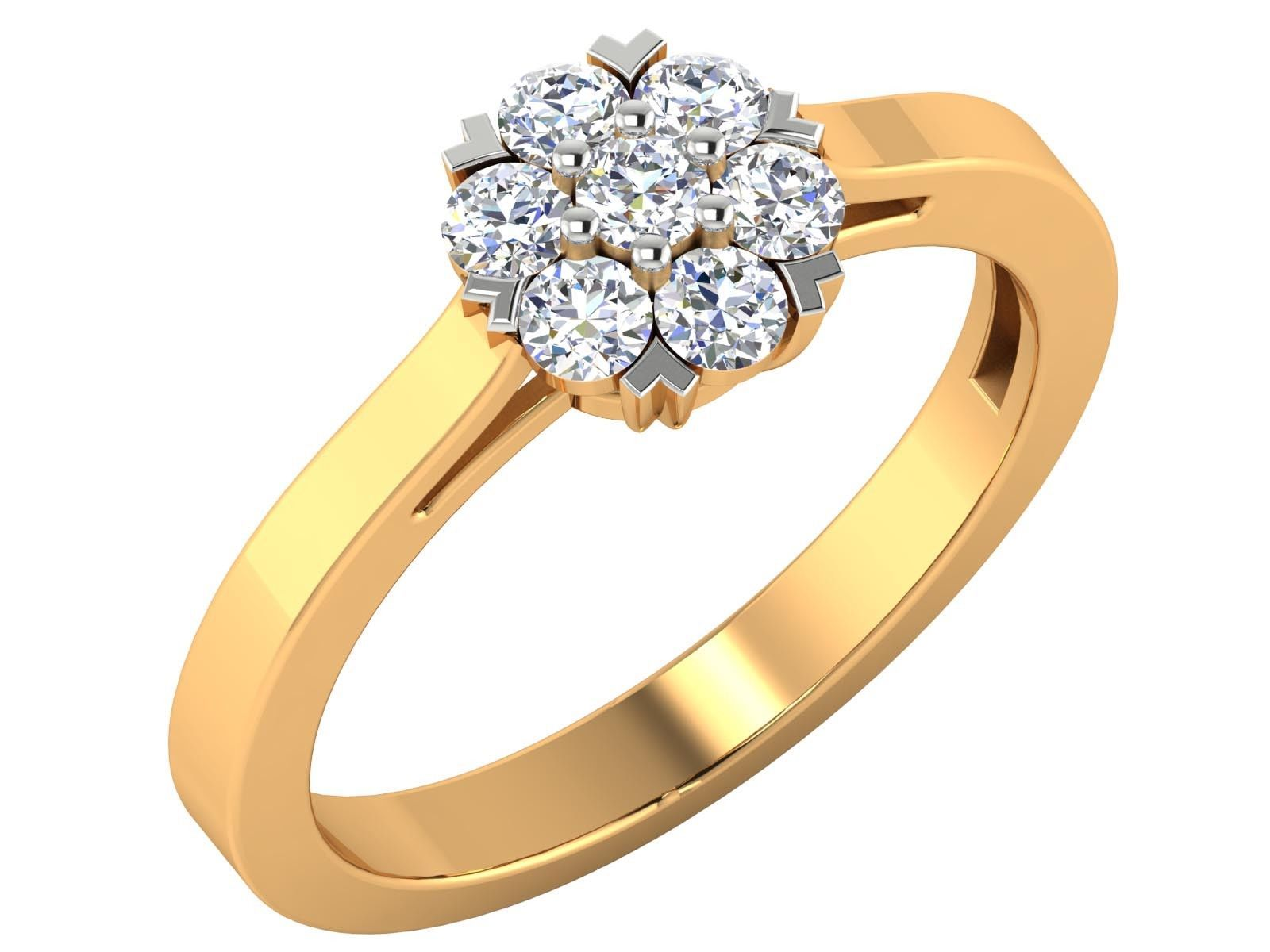 0.48CT  Real Round Brilliant Cut Diamond 14k Yellow Solid gold Cluster Ring