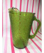 Charming Mid Century Avocado Glass Pitcher • Crackle Glass - $16.00