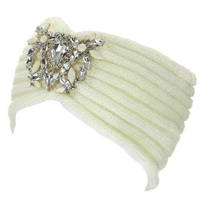 Crystal Jeweled Knit Headband / Turban / Ear Warmer - In 5 Gorgeous Colors! image 2