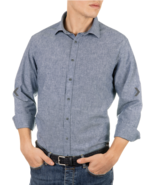 "Manetti Indigo Blue Dante Long-sleeve Cotton/Linen Comfort Fit Shirt ""X-... - $34.64"