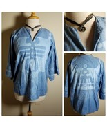Batik By Ellen Women's Top Blouse Tunic Peasant Tribal Blue 3/4 Sleeve +... - $23.24
