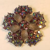 Aurora Borealis and Purple Rhinestone Flower Brooch Floral Pin Vintage C... - $24.95