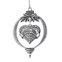 Inspired Silver Quinceanera Pave Heart Holiday Christmas Tree Ornament W... - $14.69