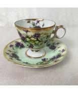 Royal Sealy China Japan Pedestal Teacup Saucer Set Green Purple Flowers ... - $52.46