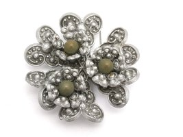 Vintage Celluloid Brooch Gray w/ Green Centers 1930s - $20.00