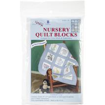 """Jack Dempsey Stamped White Nursery Quilt Blocks 9""""X9"""" 12/Pkg-Children's Zoo - $9.48"""