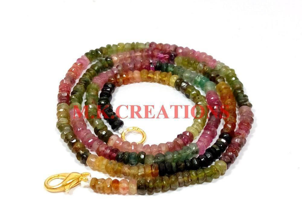 "Primary image for Natural Multi Tourmaline 3-4mm Rondelle Faceted Beads 21"" Long Beaded Necklace"