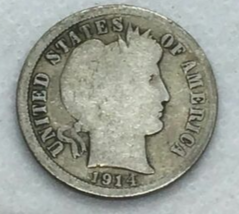 1914 90% Silver Barber Dime Good - $7.98