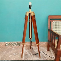 DESIGNER TRIPOD FLOOR LAMP MODERN RED WOOD LAMPSHADE TRIPO STAND - $83.00