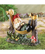 Sleeping Garden Gnome in Hammock Lawn Figurine Statue - $35.95
