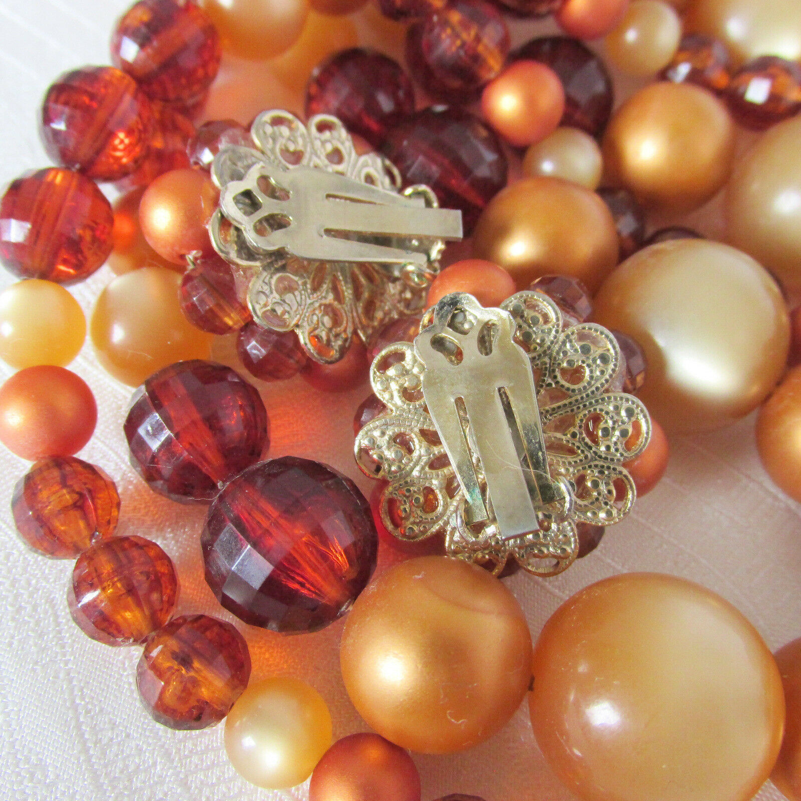Vintage 4 Strand Bib Cascade Necklace & Earrings Rich Shades Brown Amber Beads