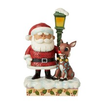 """Rudolph, Santa and Lamp Post - Lights Up! - A Jim Shore Christmas Figurine 7"""" H"""
